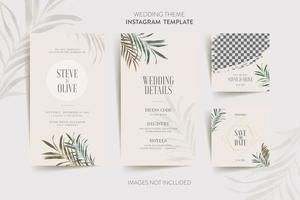 Invitation card with tropical flower and leaves