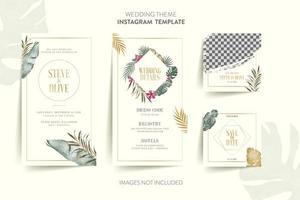 invitación de boda con flores tropicales y hojas cuadradas