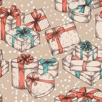 Gift boxes seamless pattern background vector
