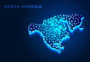 North America Continent in Blue Silhouette vector