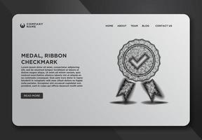 Web page template of quality icon medal with check vector
