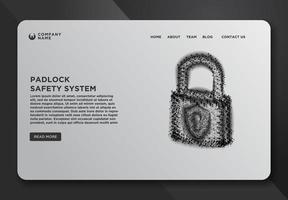 modelo de página da web de cadeado, cadeado, sistema de segurança