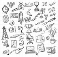 Hand drawn technology and office object sketch icon set vector