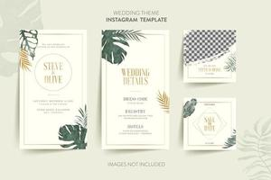 Template for wedding invitation card with tropical leaves