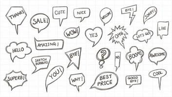 boceto dibujado a mano conjunto de burbujas cómicas de discurso