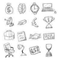 Hand drawn black tech doodle sketch icon set vector