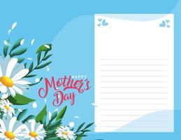 feliz dia de la madre tarjeta con decoracion de flores