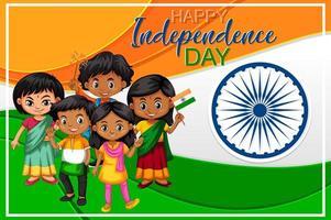 diseño de cartel de día festivo con niños felices vector