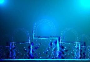 cadeado. wireframe poligonal em fundo azul escuro.