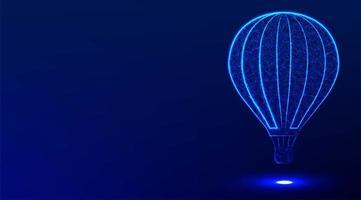 Hot air balloon blue white stripes. vector