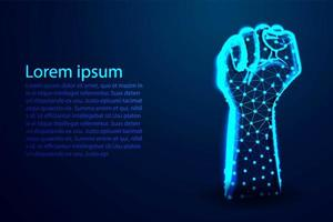 Hand clenched abstract low poly design vector