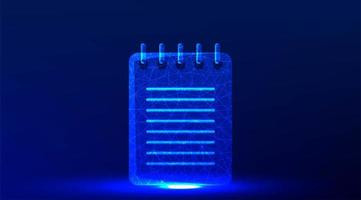 Blue glowing notebook icon design