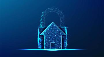 House with padlock blue glowing design