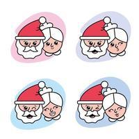 conjunto de iconos de personajes de navidad vector