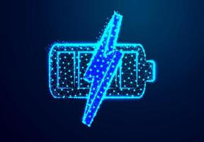 Battery charge low poly symbol vector