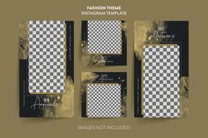 Social media post template dark gold collection