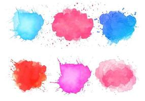 Abstract watercolor splatter stain set  vector