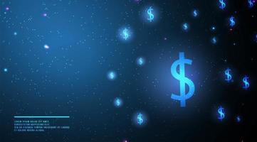 Glowing dollar sign glowing abstract background  vector