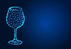 Wine glass low poly abstract design  vector