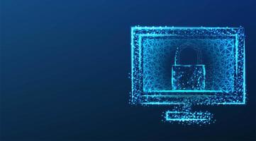 Data protection concept with lock on computer screen  vector