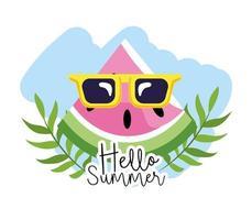 sandía tropical con gafas de sol