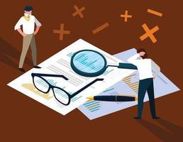 empresarios en el día de impuestos con documentos estadísticos. vector
