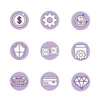 Fintech industry icon set