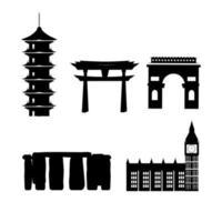 Conjunto de iconos de silueta de lugares turísticos