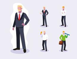 Set of male professional workers design vector