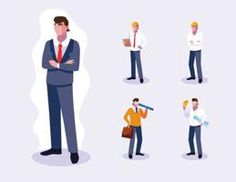 Set of professional male workers design vector