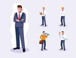 conjunto de diseño profesional de trabajadores masculinos