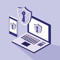 seguridad cibernética con laptop y smartphone