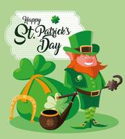St Patrick Day with leprechaun and icons vector