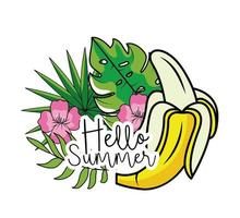 plátano con flores y hojas tropicales
