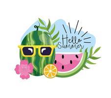 sandía con gafas de sol con flores tropicales