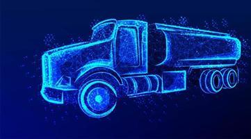 camión cisterna de petróleo diseño brillante azul vector