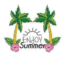disfruta del verano con palmeras y flores
