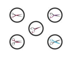 Scissors logo set template vector