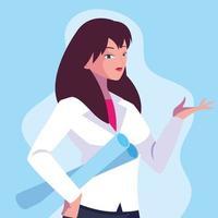 mujer ingeniera diseño de personajes vector