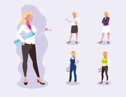 Set of professional female workers design vector
