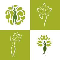 Set of wellness icons of women with nature