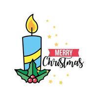 Christmas candle, celebration greeting card