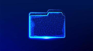 Abstract blue glowing file folder design  vector