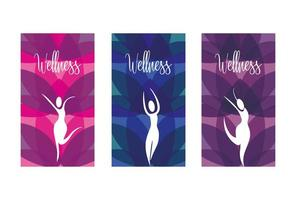 Set of wellness icons of women with nature elements