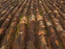 Old rusted roof tiles