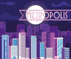 edificios del paisaje urbano de la metrópoli con cielo púrpura