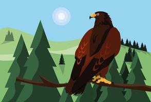 imponente falcão no galho com paisagem