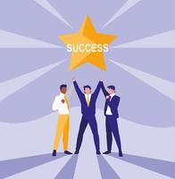 empresarios exitosos celebrando con estrella vector