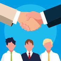 handen schudden met zakenman avatar karakter vector