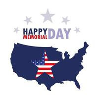 Happy memorial day card with USA flag and map  vector